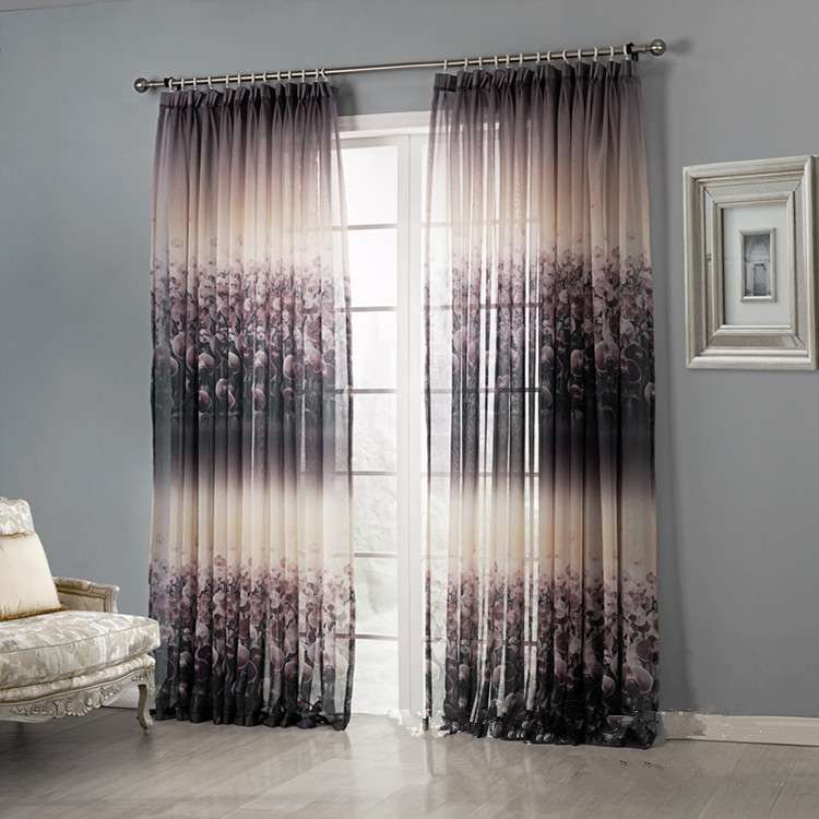 Modern floral blackout curtains design for living room for Flowery curtains design