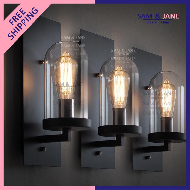 Led Foyer Lighting : Modern wall lamp glass iron lustre home decor indoor