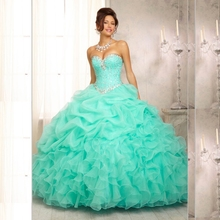 New Stock Organza Ruffled Beaded Sweetheart Neck Pink Quinceanera Dresses 2014 Ball Gowns Dress15 Years Vestidos De 15 Anos W42(China (Mainland))