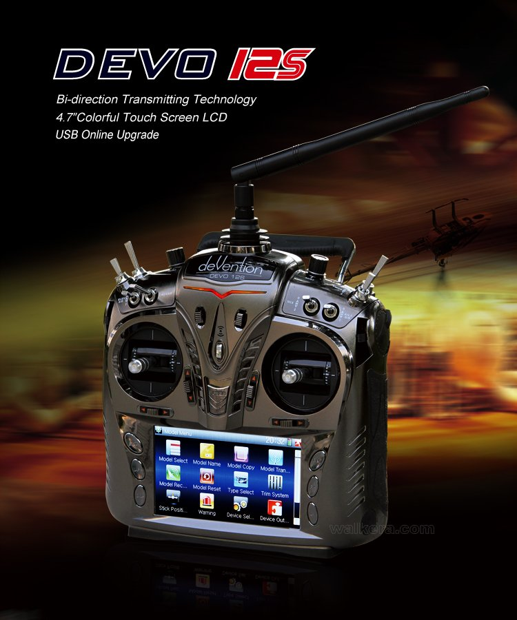 Walkera DEVO 12S 12CH 2.4G touch screen rc Transmitter With RX1202 Receiver +Alu Case P2<br><br>Aliexpress
