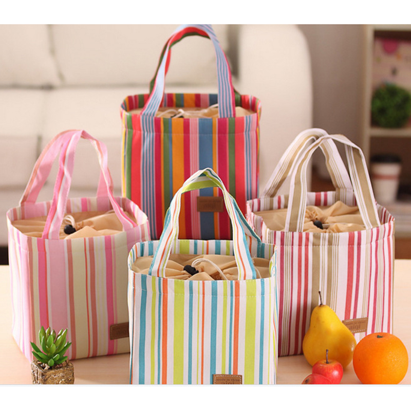 2016 Hot Sale Insulated Cold Canvas Stripe Picnic Totes Carry Case Thermal Portable Lunch Bag High Quality Free Shipping P171<br><br>Aliexpress