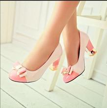 Free Shipping 2016 New Summer and Spring Women Pumps round toe High Heels bow color block decoration cute Women Shoes High Heels