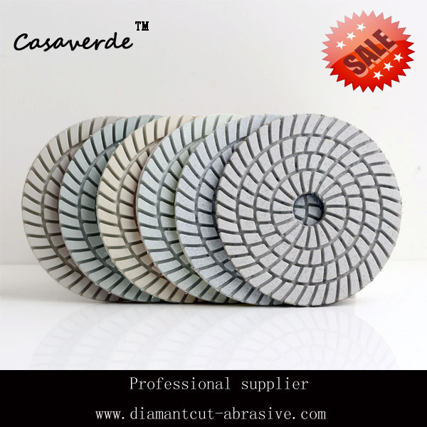 Free Shipping 100mm wet 4 inch wet diamond polishing pads,white Resin polisher for stone and granite(China (Mainland))