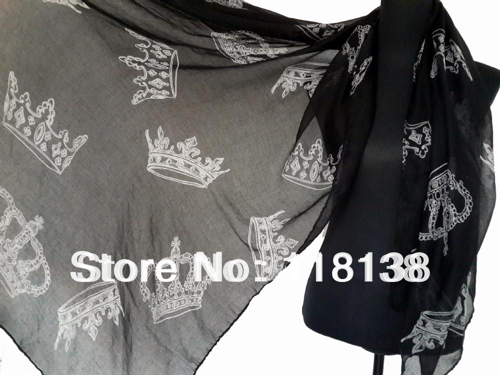 Fashion Ladies Big Royal Crowns Print Scarf Shawl Wrap Winter Spring Accessory, Free Shipping(China (Mainland))
