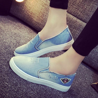 free shipping 2015 Summer Autumn New fashion Shoes women's Flats Sneakers on platform canvas shoes Women's Casual woman Denim