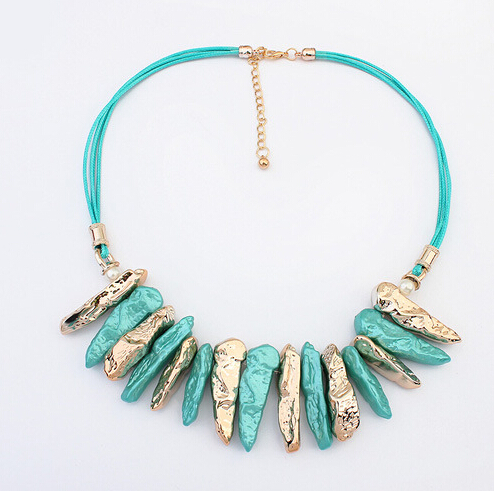 SBY0705 New Style Fashion Bohemian Gem Stone Leather Necklaces Pendents accessories Women Jewelry(China (Mainland))