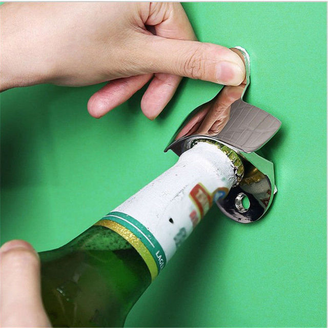 Hot Sale Convenient Stainless Steel Wall Mount Bar Beer Soda Glass Cap Bottle Opener Kitchen Tool Best Quality