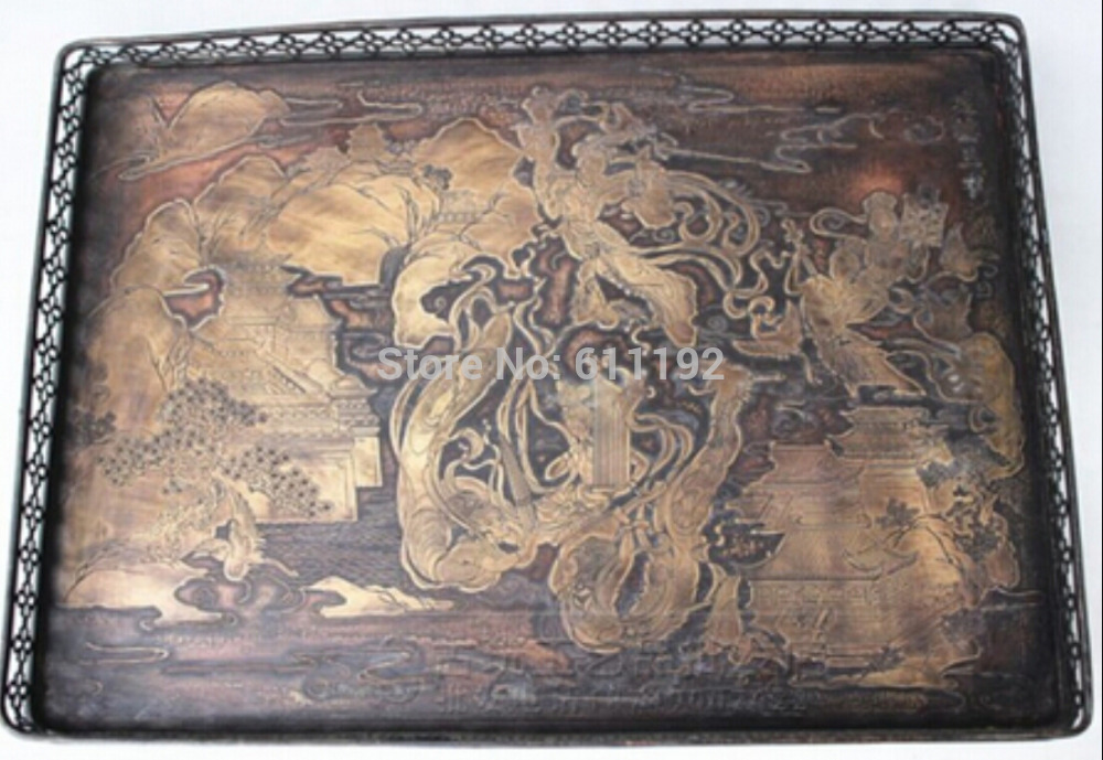 SCY Chinese collection of ancient hand-carved Pavilions building and fairies pattern copper tray(China (Mainland))