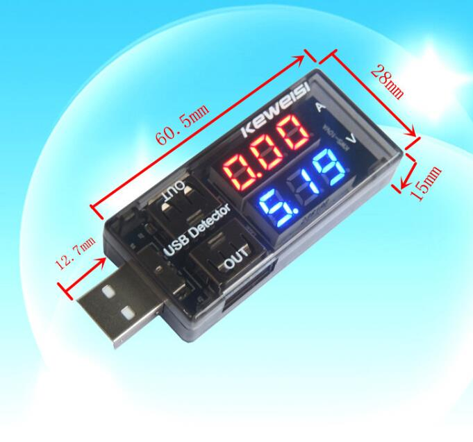Universal USB Current Voltage Tester USB Voltmeter Ammeter Detector Double Row Shows New(China (Mainland))