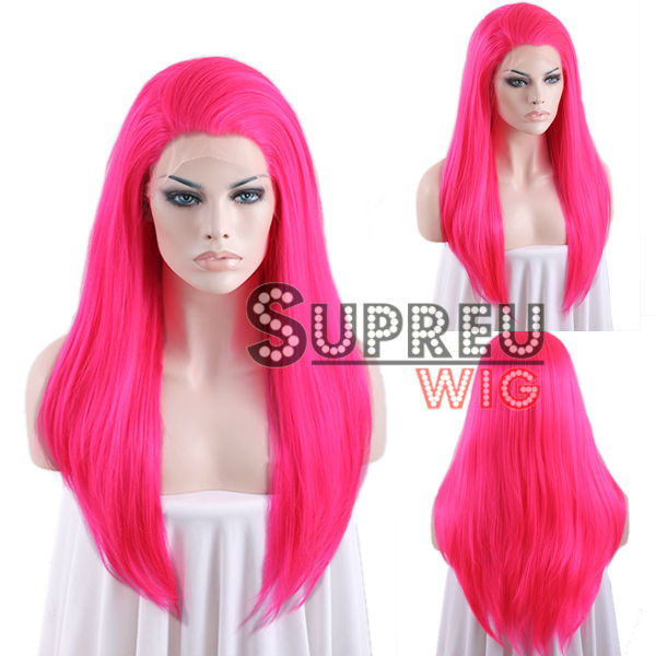 24 Long Straight Hot Pink Lace Front Wig Heat Resistant LW038<br><br>Aliexpress