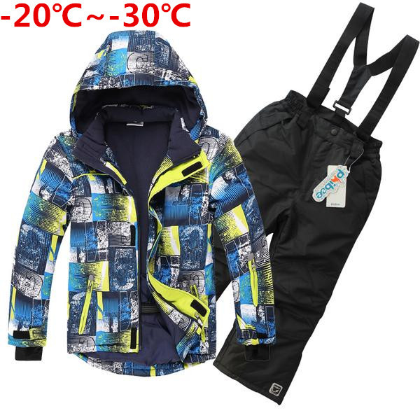 5-20 years children wear 2015 winter clothing set windproof ski jackets+pant children winter snow sets boys outdoor warm suit(China (Mainland))