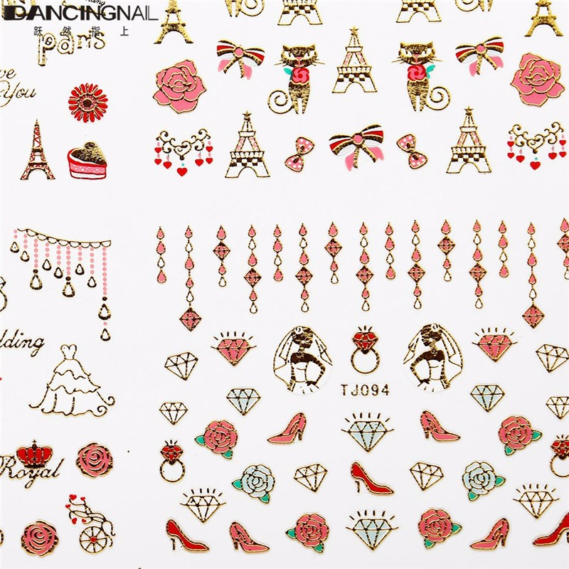 1 Sheet Nail Sticker 3D Red Hearts Red lip Golden Decal Valentines Day Design Nails Beauty Tool(China (Mainland))