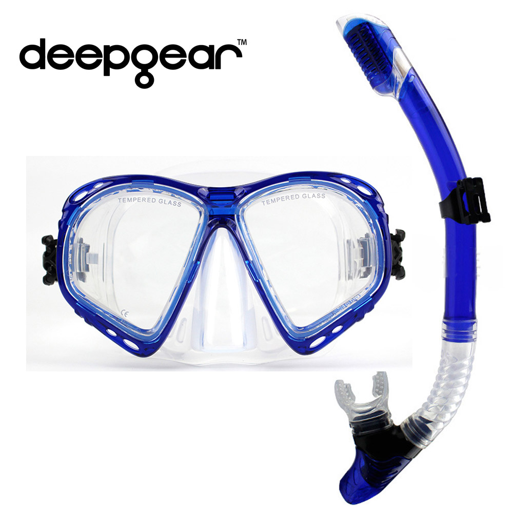 DEEPGEAR Nearsighted divers scuba diving mask and snorkel gear Tempered glass lens low volume scuba mask Full dry snorkel set(China (Mainland))