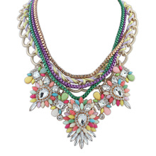 Statement Necklaces   2015 New Design Female Multicolor Resin Rhinestone Necklaces & Multi-layer Chain  Pendants luxury jewelry(China (Mainland))