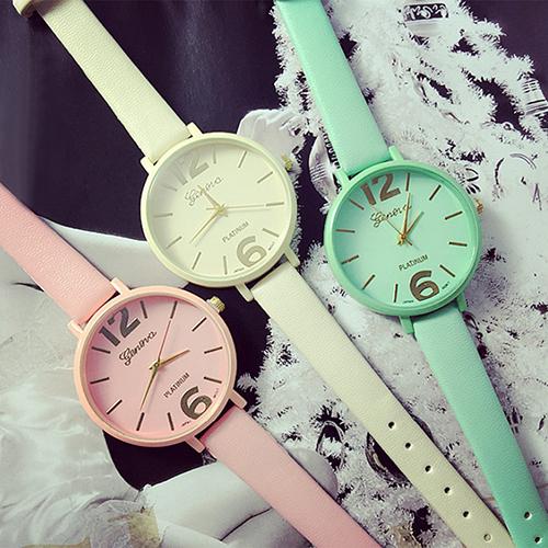 Women's Geneva Candy Jelly Color Faux Leather Quartz Analog Dress Wrist Watch(China (Mainland))