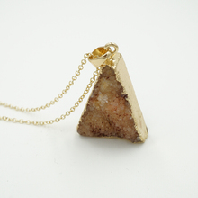 2015 Colorful Triangle Crystal Agate Necklace Natural Stone colares femininos New Amethyst Quartz Jewlery N144