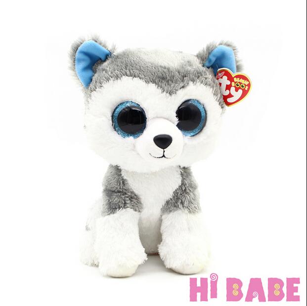 1pcs 18cm 2015 Hot Sale Ty Beanie Boos Big Eyes Husky Dog Plush Toy Doll Stuffed Animal Cute Plush Toy Kids Toy(China (Mainland))