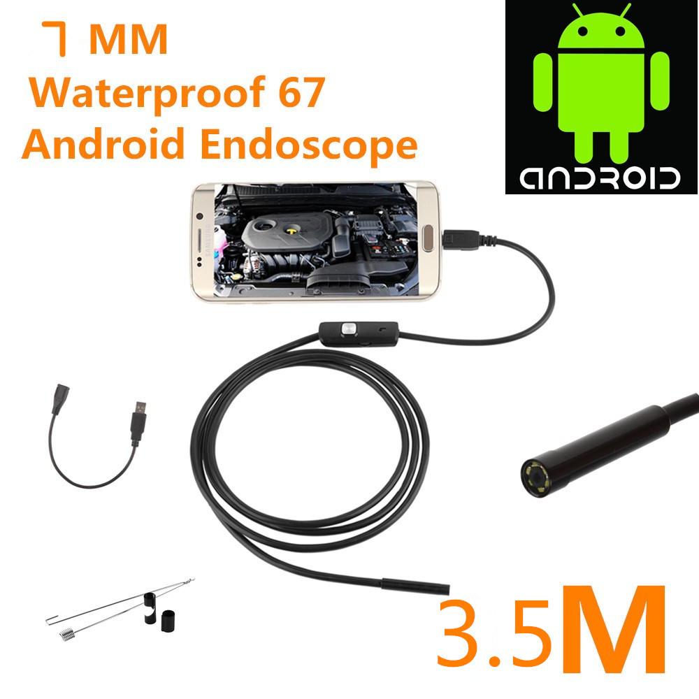Endoscope Borescope USB Android Inspection Camera HD 6 LED 7mm Lens 720P Waterproof Car Endoscopio Tube mini Camera 3.5M<br><br>Aliexpress