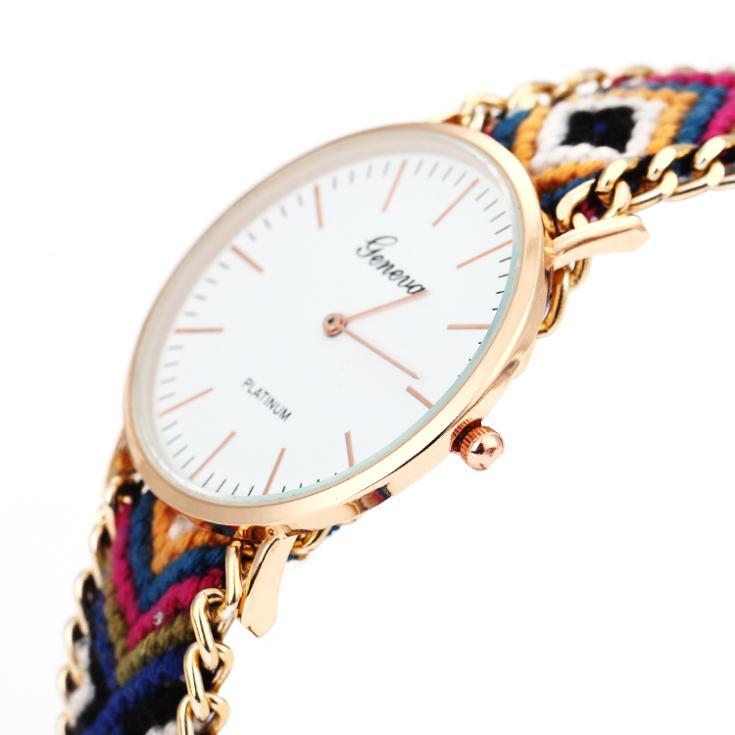 relogio feminino masculino 2015 Handmade Rope Geneva Vintage Dress Watch Round Gold Watches Bohemia Thread Quartz Wristwatches - Mulan Fashion Accessories CO,LTD store