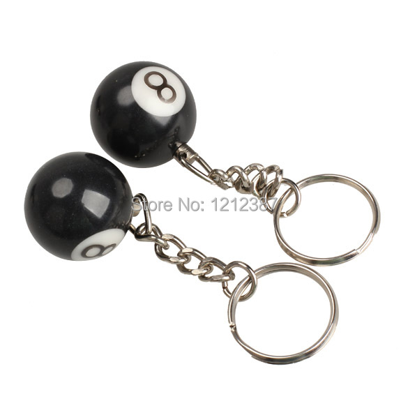 High Quality 2pcs Billiard Pool Keychain Snooker Table Ball Key Ring Gift Lucky NO.8 ES88 HB88(China (Mainland))