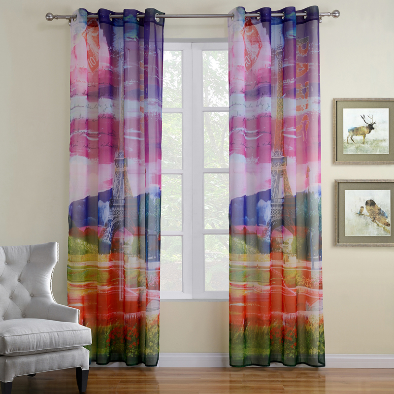 Online get cheap colored sheer curtains for B q living room curtains
