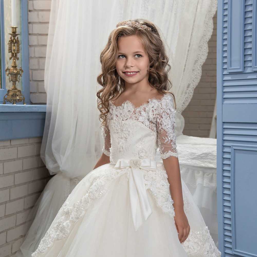 Princess-First-Holy-Communion-Dress-Half-Sleeves-Puffy-Ball-Gown-Little-Bride-Graduation-Pageant-Dresses-Flower (1)