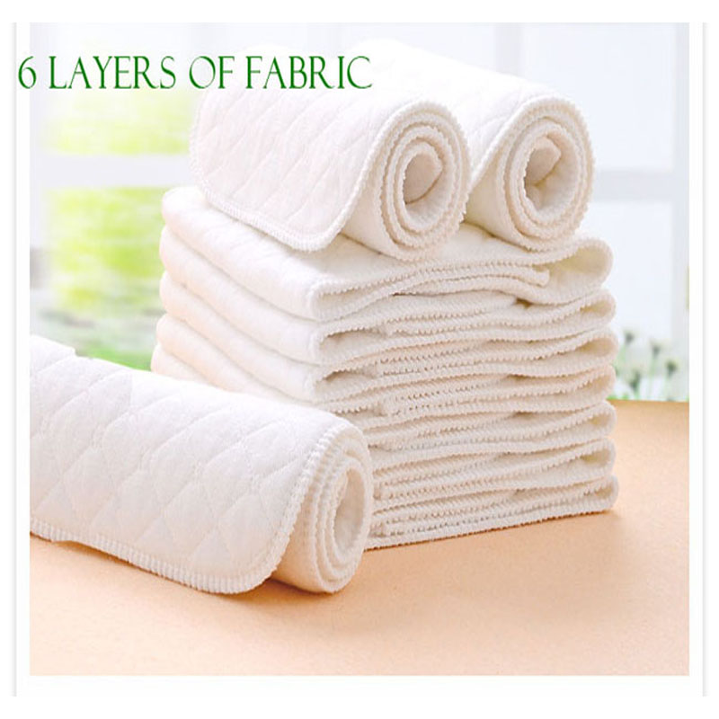 6 Layers Baby nappies lot 10pcs Infant Nappy Cloth Washable Diapers Soft and Breathable diaper Cotton Nappy Liners inserts
