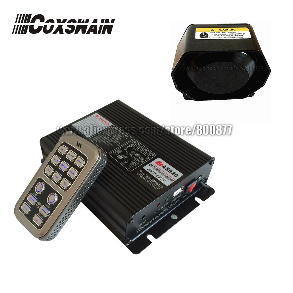 Coxswain AS920 200W car wireless electronic police siren with 200W speaker, car amplifier PA system, 20 tones ( siren + speaker)
