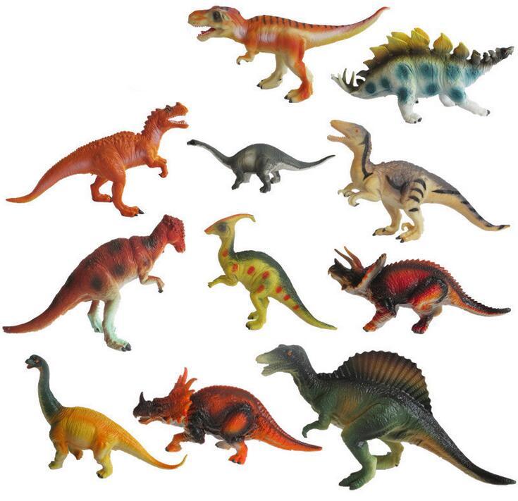 12Pcs/Set A large dinosaur toys Model animal 15-18cm Children's gift PVC material simulation model dinosaur(China (Mainland))
