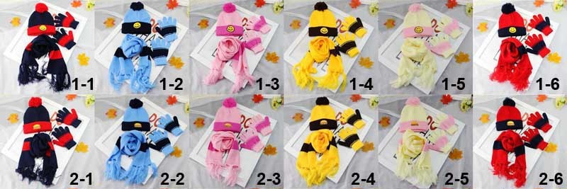 New Arrival Winter Warm Gloves Scarf Hat Children Baby Beanie Cap Patchwork Knitting Girls and Boys Smile 3 pcs Set Xmas Gifts