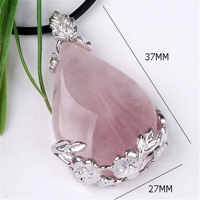Natural Rose Quartz Crystal Waterdrop Pendant Reiki Healing Nice Natural Gem
