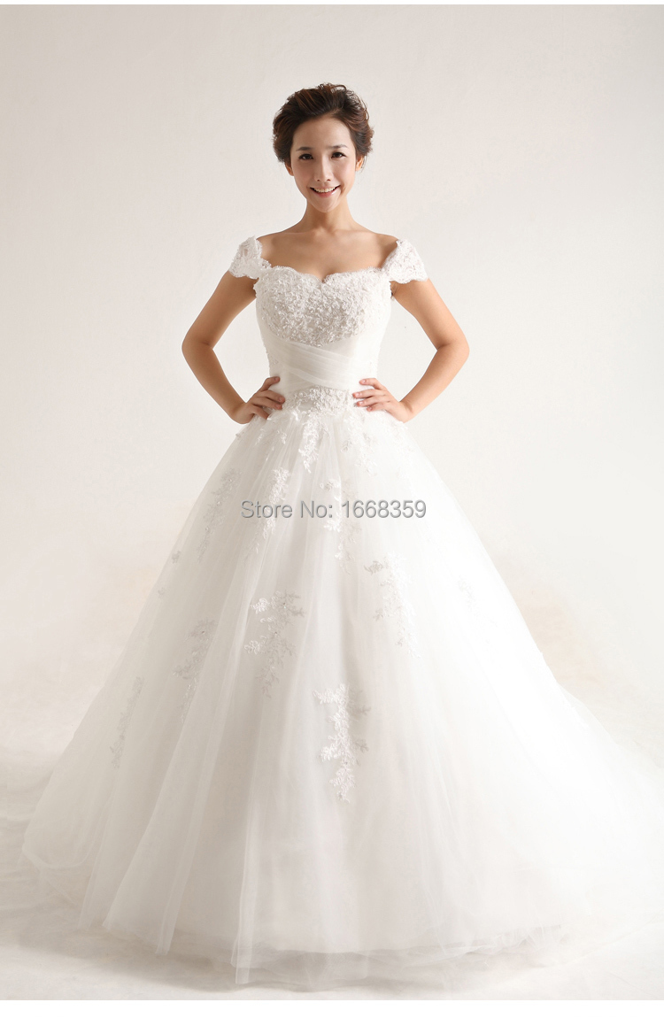 Custom made white lace appliques sweetheart off shoulder for Cheap lace wedding dresses with sleeves