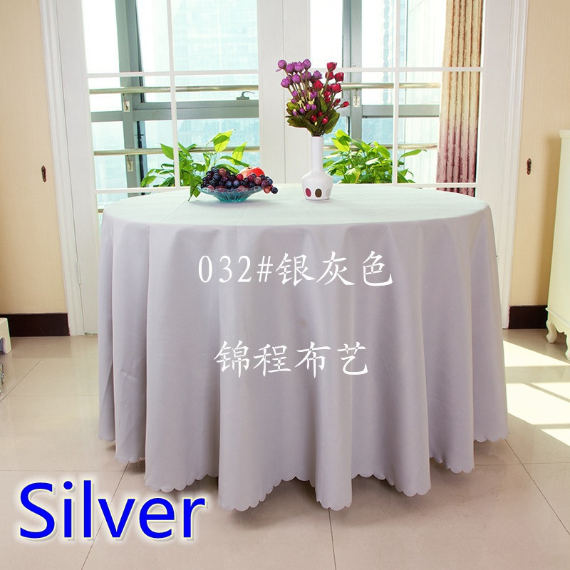 Silver grey solid table cloth,polyester table cover,for wedding,hotel and restaurant round tables decoration,200GSM fabric(China (Mainland))