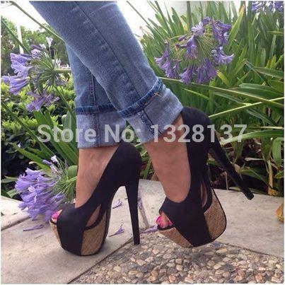 Party Shoes Leather Open Toe Slip On Black Platforms Pumps High Heel Women Shoes zapatos mujer sapatos femininos salto alto