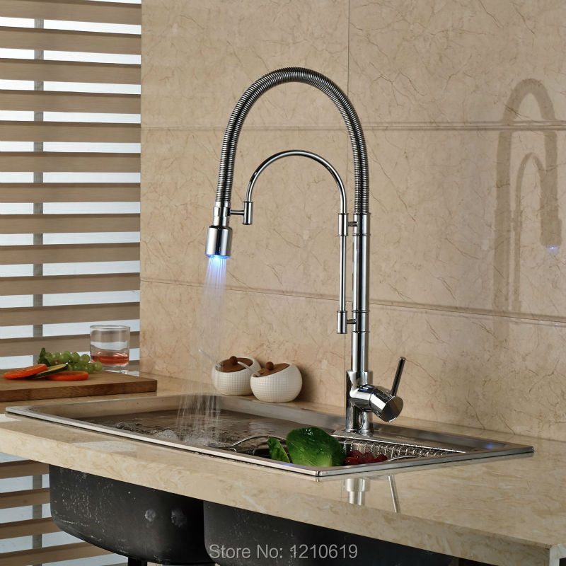 Newly Single Hole Kitchen Sink Faucet Pull Down Spout Chrome Plate LED Light Basin Mixer Faucet Tap