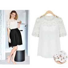 New spring 2016 shirts blouse stitching lace hollow women loose chiffon shirt plus size S M L XL XXL