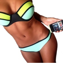 2015 Summer Style Plus Size Patchwork Swimwear for Women Sexy Bikinis Set Swimsuit Bathing Suit Attractive