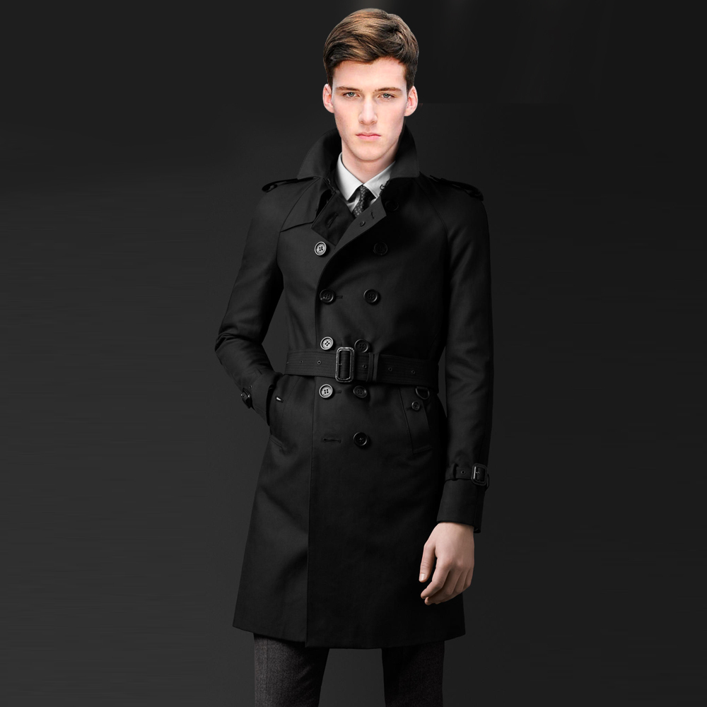 2014 new fashion men casual trench coat new black men long