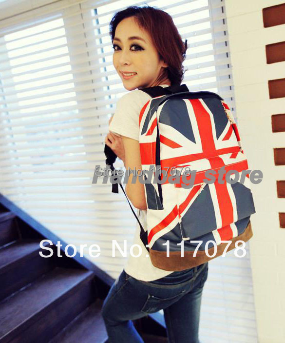 3pcs/lot Unisex Canvas backpack teenager School bag Book Campus Backpack bags UK US Flag wholesale retail drop shipping 5691(China (Mainland))