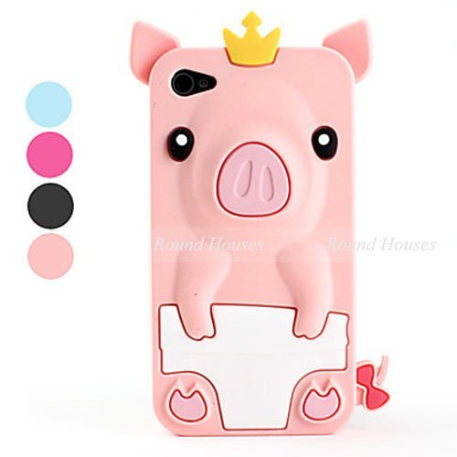 10pieces/lot Lovely Fun 3D Pig Soft Silicone Case for Apple iPhone 4 Cell Phone Case for iPhone 4