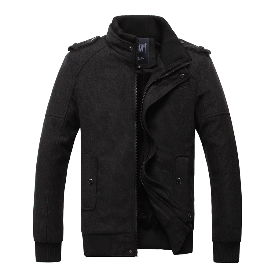 2015 New Winter Mens Male Slim Fit Jacket Coat Thicken Warm Wool Blends Casual Overcoat Outerwear size M-2XL