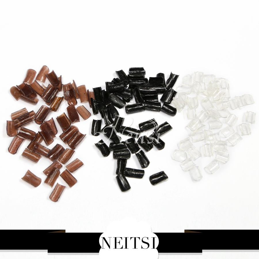 Neitsi 50pcs/pack Adhesives keraitn Nail tip Glue Tip U type prebonded human hair extension Black Brown 3 Colors - Guangzhou Alice Hair Store store