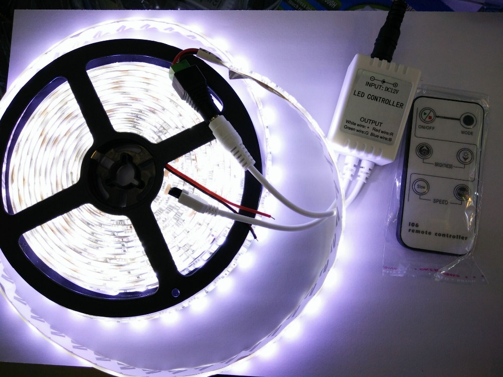Waterproof IP65 or IP20 LED Strip 300leds/5M 5050 SMD Cool/Warm White Red Green Blue Light+single color IR controller(China (Mainland))