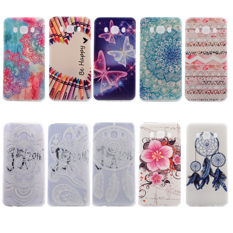 Soft Silicone Gel Cell Phone Case Protective Back Cover Flower Butterfly Pattern Painted for Samsung Galaxy J7 2016 J710 J710X(China (Mainland))