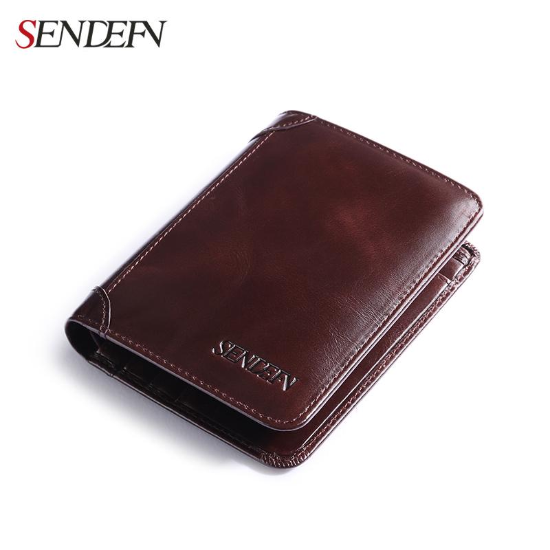Sendefn Genuine Leather Men Wallets Soft Simple Short Male Purse Card Holder Wallet Men Fashion Mens Wallet Leather Genuine(China (Mainland))