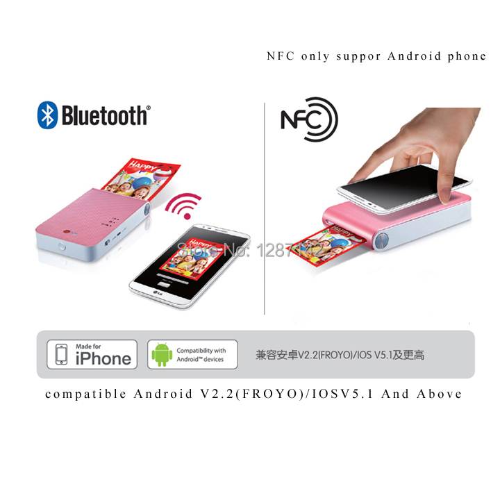 For LG New Vesion DP239P Bluetooth Wireless Pocket Photo Printer For Mobile Phone&Tablet Color Photo Printer(China (Mainland))
