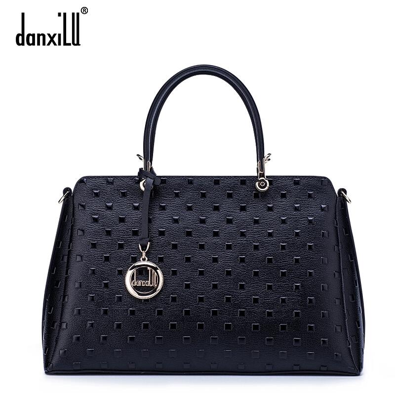 DANXILU Brand Bags Handbags Women Genuine Leather Bag Fashion Casual Handbags Cowhide Leather Plaid Shoulder Messenger Bags