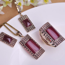 Vintage Ruby Jewelry Sets Antique Gold Plated Square Red Necklace Earring Ring Set Princess Hooks Earrings Big Size Rings Colar(China (Mainland))