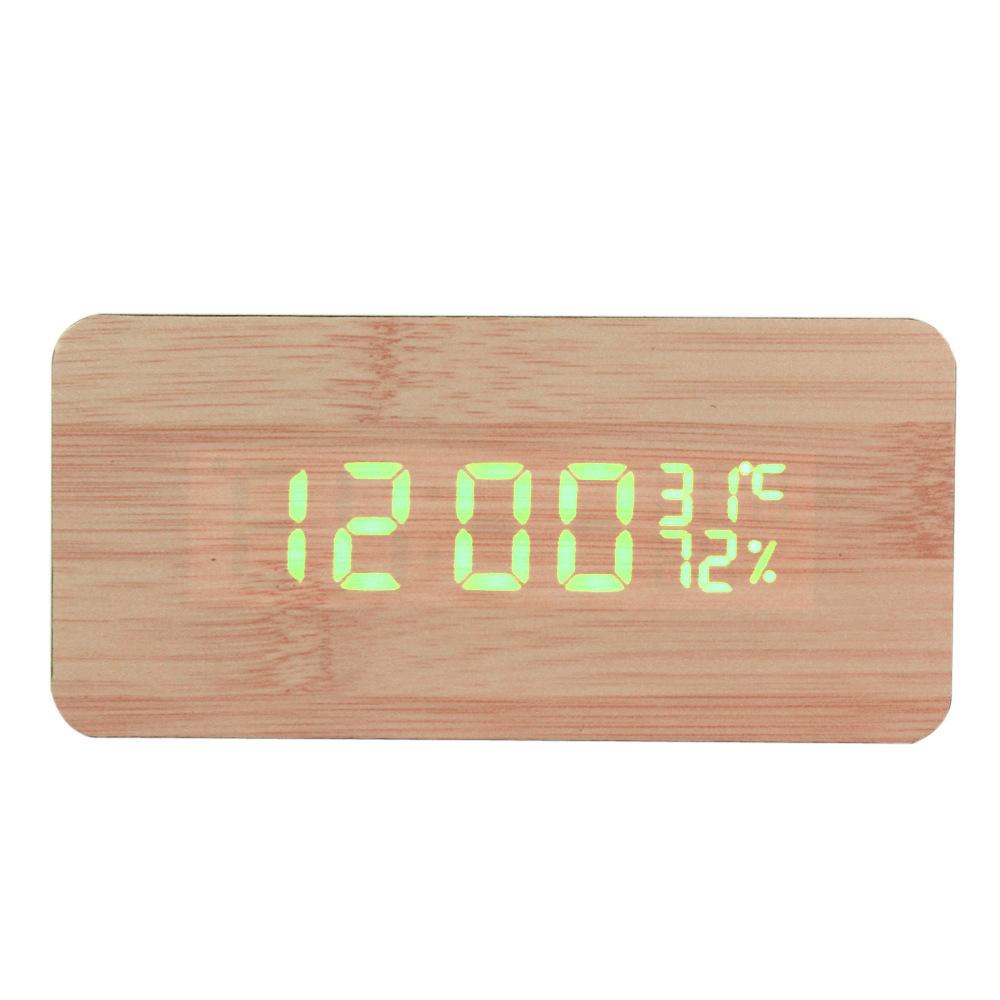 Quality Digital LED Alarm Clock Sound Control Wooden Desktop Slient Clock Battery/Cord Powered Temperature Tumidity Display(China (Mainland))