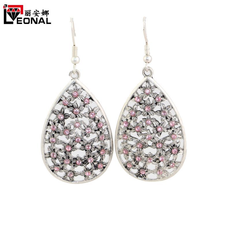 Sweet Fascinating Women Silver Plated Dangle Earring Water Drop Shape Flowers Pattern Crystal Drop Earrings Lady Fashion Jewelry(China (Mainland))